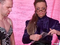 Mistress picks out lingerie for sissy guy tubes