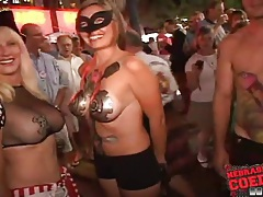 Costume girls get wild on the streets tubes
