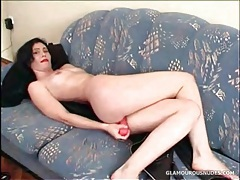 Dildo sex with cute girl and her pink dildo tubes