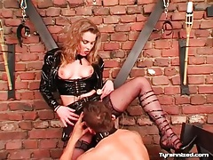 Black latex on lovely mistress dominating him tubes