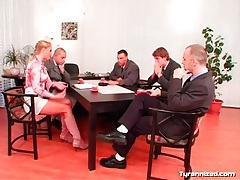 Everyone gets naked for mistress at board meeting tubes