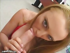 Blue eyed beauty sucks dick and teases with cunt tubes
