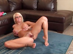 Busty blonde in glasses masturbates solo tubes