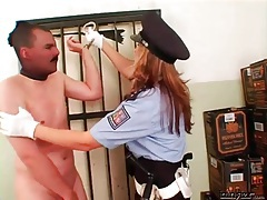 Female cop abuses a peeping tom roughly tubes