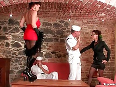 Lucky sailors lick sexy ladies all over tubes