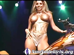 Hot chicks dancing on a bike at car show tubes