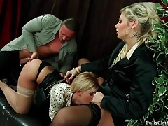 Two office babes in satin blouses fucked hardcore tubes