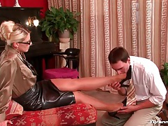 Girl in tight leather skirt dominates him tubes