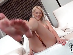 Adorable blonde with big tits and hot ass strips tubes