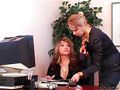 Smoking mistress uses secretary as ashtray tubes