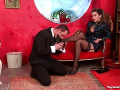 Mistress commands him to strip naked tubes