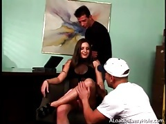 Gangbang starts with stripping and cocksucking tubes