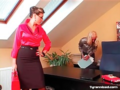 Femdom satin sex in the office with two babes tubes