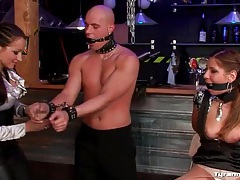 Sexy mistress has guy and girl sub to play with tubes