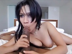 Cocksucker with big naturals sits on her man tubes