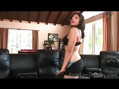 Curvy latina striptease leads to footjob tubes