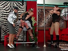 Sissy guy spanked on the ass and put in bondage tubes
