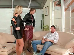 Mistress instructs slut in a dress to suck a dick tubes