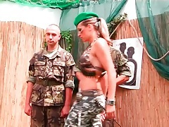 Military men trained by an abusive chick tubes