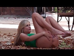 Teen flashing her tanned ass in outdoor photo shoot tubes