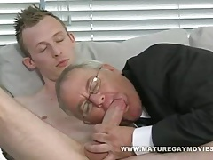 Chubby daddy gets his ass stuffed with young cock tubes