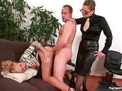 Girl in blouse watches office mate get fucked tubes
