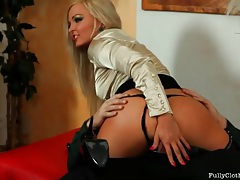 Blonde slut in a lovely blouse fucked hardcore tubes