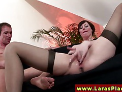 Euro mature in stockings gets rimjob tubes