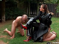 Mistress smokes cigar and uses guy as an ashtray tubes