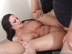 Hot cum lands on her tits after shaved pussy fuck tubes