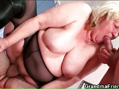 Big bitch in boots and pantyhose has threesome sex tubes
