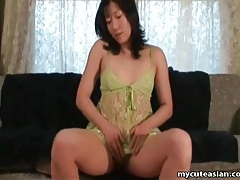 Green lace lingerie striptease from asian chick tubes