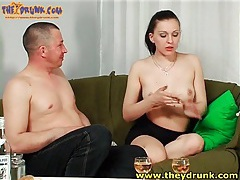 Tasty russian in strapless dress gets drunk tubes