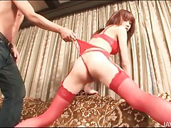 Skinny japanese body in beautiful red lingerie tubes