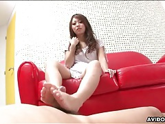Footjob and sucking makes him cum for her tubes
