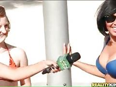 Bikini girls play topless ping pong tubes
