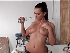Stripping eve angel in work clothes tubes
