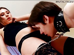 He goes down on hairy pussy of mistress tubes