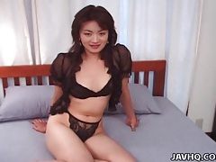 Black lace is beautiful on japanese girl tubes