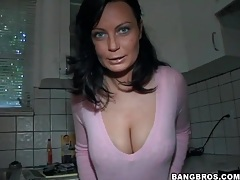 Big natural tits are sexy in pink sweater tubes