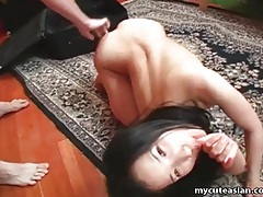 Cumming on her asian tummy after fucking tubes