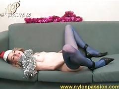 Masturbating hottie in blue pantyhose tubes