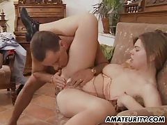 Busty amateur girlfriend gets double teamed with facial tubes