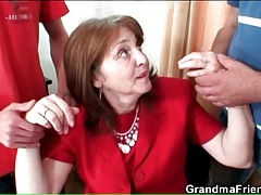 Classy mature business babe sucks two dicks tubes