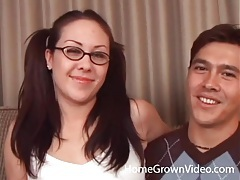 Pigtailed girl in glasses sucks a cock tubes