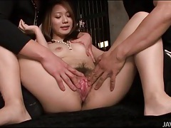 Kissing and stripping girl to finger her pussy tubes