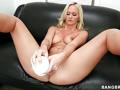 Gorgeous blonde emily austin strips and toys tubes