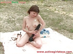 Outdoor dildo riding with hot young ira tubes