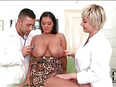 Busty girl threesome in doctor office tubes