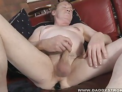 Chubby daddy jerks his small cock tubes
